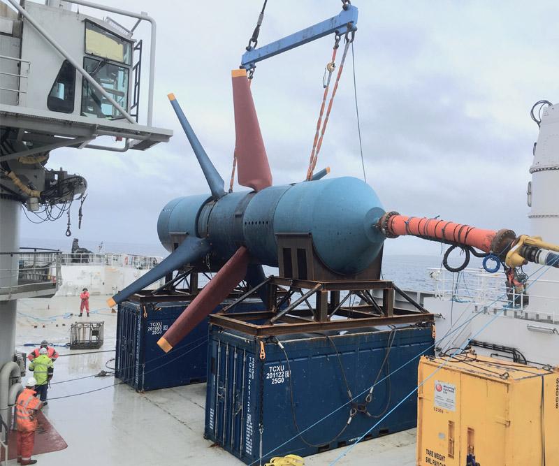 tidal turbine on vessel